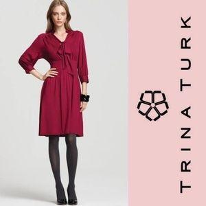 TRINA TURK Seabird Dress Viscose Jersey Raspberry